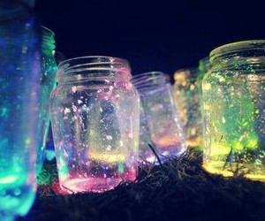 light, jar, and colors image