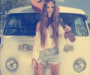 girl, guitar, and hipster image