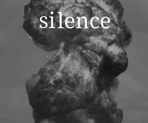 silence, black and white, and text image