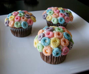 cereal, cupcakes, and Fruit Loops image