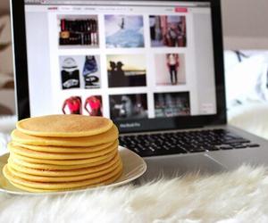 pancakes, food, and laptop image