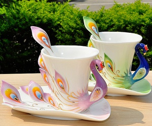 cup, beautiful, and peacock image