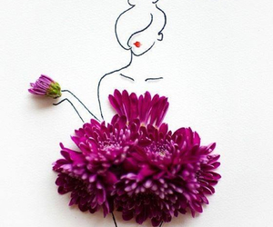 draw, flower, and fashion image