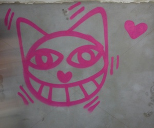 cat, drawing, and wall image