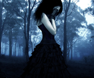 blue, girl, and lonely image