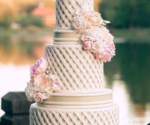 cake, elegant, and flowers image