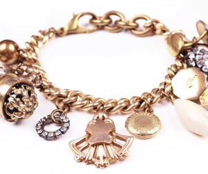 bracelet, charms, and gold image
