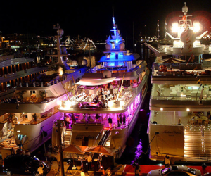 boat, light, and party image
