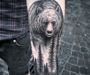 art, awesome, and tattoos. bear image