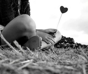 love, heart, and black and white image
