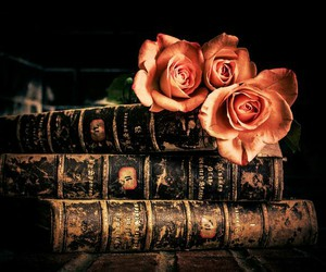 books, book photography, and books and flowers image