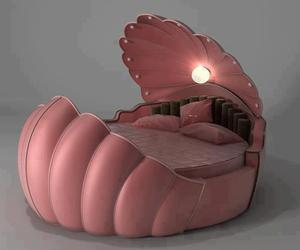 bed, pink, and shell image