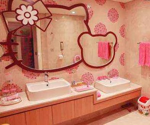 hello kitty, bathroom, and pink image