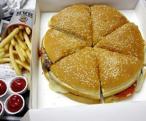 food, burger, and pizza image