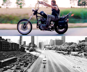 cars, motorcycle, and the walking dead image