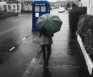 doctor who, rain, and tardis image