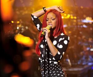 polka dot, red hair, and rihanna image