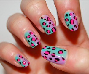 nails, leopard, and pink image