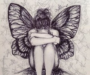 butterfly, girl, and sketch image