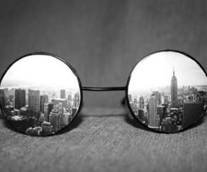 city, glasses, and black and white image