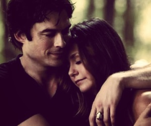 couple, the vampire diaries, and damon and elena image