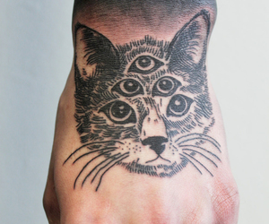 tattoo, cat, and hand image