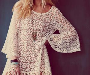 dress, white, and hippie image