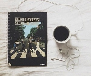 music, the beatles, and coffee image