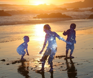 baby, sea, and sunset image