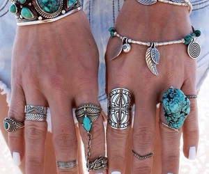 fashion, rings, and blue image