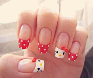 nails, hello kitty, and red image