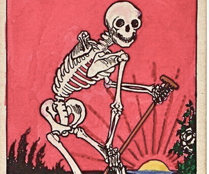death, skeleton, and card image