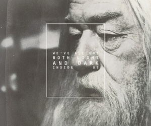 dumbledore, harry potter, and black and white image