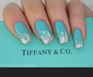 glitter, nails, and blue image