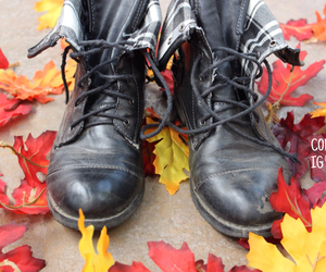 autumn, combat boots, and fall image