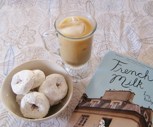 book, donuts, and french image
