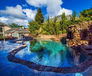 dream house, luxury lifestyle, and beautiful pool image
