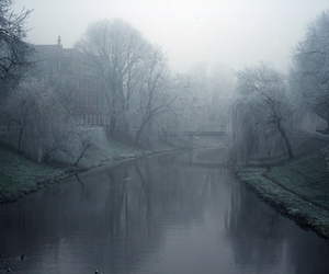 fog, river, and house image