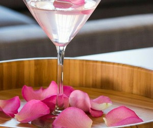 drink, rose, and martini image