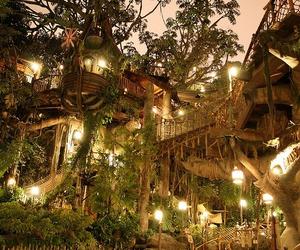light, tree, and treehouse image