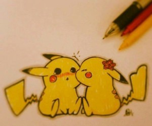 love, cute, and pikachu image