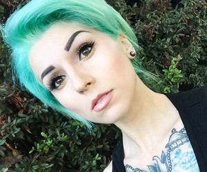 alternative, Piercings, and green hair image