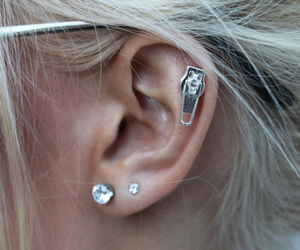earrings, piercing, and hair image