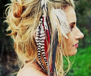 blonde, feathers, and girl image