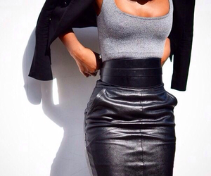 model, skirt, and leather look image
