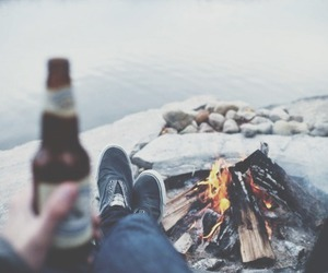 beer, fire, and boy image