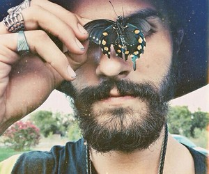 butterfly, beard, and boy image