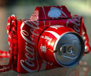 camera, coca cola, and red image