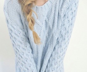 sweater, blue, and fashion image