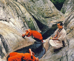 monks, nature, and river image